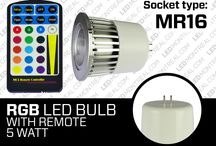 RGB LED Bulbs / Imagine changing the mood of an entire room at the push of a button. With our color changing RGB LED bulbs now you can! Color changing RGB LED bulbs are compatible with your existing light sockets, use the included remote to set them on a single color or on an automatic color changing mode.