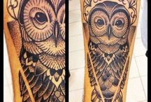 Owl and chandelier-tattoo