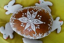 Easter Honiees - spring honey cookies / Easter Honiees - spring chapes of honey cookies made of honey dough and decorated with sugar glaze - white or colored
