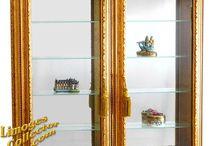 Italian Gold Vitrine Curio Display Cabinets