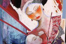 Cyane art contemporain peinture créations Nadine Maugie / aquarelles techniques mixtes