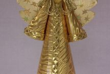 Traditional Style Gold Angel for a Christmas tree topper or decoration