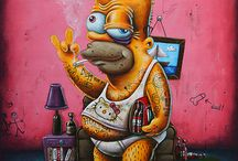 """Dirty """"Simpson"""" family - Gilen / #gilen #disneyart #lowbrow #lowbrowart #lowbrowpaintings #simpson #homer #bart #bartsimpson #bestreet #bootlegbart #dirtybart #dirty #art #dirtyart"""