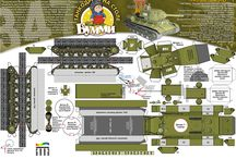 Military paper cut model