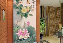 Papier peint d'artiste peinture asiatique - les fleurs et les oiseaux