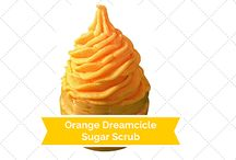 Orange Dreamcicle Sugar Scrub / Orange Dreamlike Sugar Scrub is an exfoliating scrub that is great for your face. It is made with sugar coconut oil and vanilla and orange essential oils.