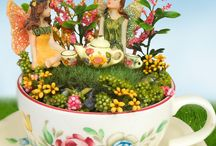 Tea & Fairies / Teacup fairy gardens and tea party inspired enchanted miniature garden scenes.  Enchanted fairy garden accessories and magical tea party supplies.
