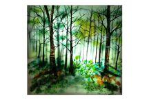 Twilight, בין ערביים / Ligted picture, fused and painting on glass,30x30 cm  d 3 mm , Spectrum glass,תמונה מוארת כוללת גוף תאורה