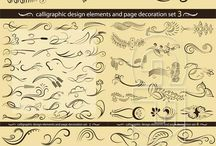 Calligraphic design elements colection