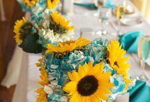 Blue dark pink yellow orange wedding