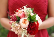 Red dress/red bouquet