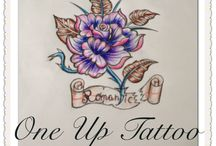 Sketch tattoo purple flower rose / One Up Tattoo  Gyfada Greece