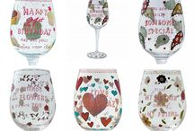 Wine Glasses Glassware Gifts / The wine glass gifts are from About Face Designs, Haight-Ashbury collection. The printed decal wine glasses all featuring time-honoured sentiments with bold and colourful design, contemporary and retro in some cases triggering memories of a past era of peace, love and sisterhood!