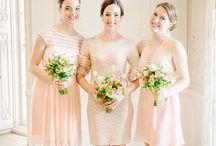 Bridesmaids & Feminine: Orange and Peach / Lovely orange and peach bridesmaid dresses.  #wedding #bridesmaid #bridesmaiddress #peachbridesmaiddress #orangebridesmaiddress #coralbridesmaiddress