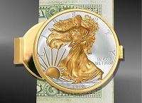 Coin Money Clips / Coin Money Clips featuring US coins: Silver Eagle dollar, Morgan dollar, Walking Liberty dollar, state quarters, Presidential Seal half dollar.