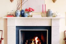 fireplace mantel / chinese ginger jars; gold and pink