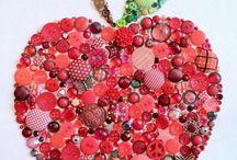 Apfelbild aus Knöpfen