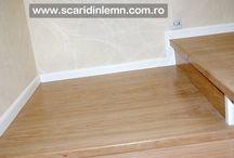 Scara interioara cu trepte din lemn masiv placate pe beton / http://www.scaridinlemn.com.ro