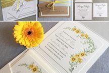 Yellow wedding invitations and stationery