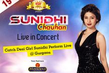 Sunidhi Chauhan - Live In Concert Gurgaon / Coconut Event presents the Vibrant Sunidhi Chauhan on stage on 19th June at Leisure Valley, Gurgaon! The most Rocking Concert of the season! A chance to see a rare combination of Rock & Melody that will leave you mesmerised!! An opportunity to be with Sunidhi and watch the heart throb of youth rock the show!