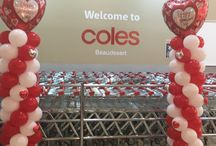 Coles Beaudesert Balloon Displays / Just finished setting up Balloon Columns and Bouquets for Beaudesert Coles Valentine's Flower display, also donated a balloon arch to Coles got Redkite day