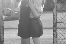 Friends hug
