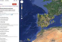 Sabuesos literarios españoles / Mapa de los lugares en los que desarrollan sus pesquisas detectives literarios españoles.