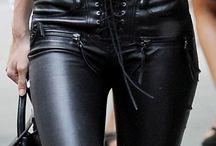 Denim Shirt and Leather Pants