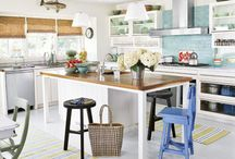 Kitchen Ideas / Remodeling or renovation of your kitchen.  Clever DIY design ideas for small spaces on a budget.  Modern white splashback, pantry or island bench.  Rustic, beach, Hamptons farmhouse or country style and decor.  Organization of layout including cabinets for best storage.
