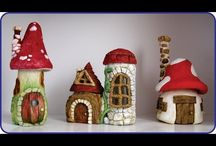 fairy houses using modeling clay