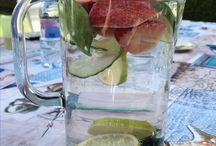 Water / Strawberries, blueberries, citrus, cucumber and basilica