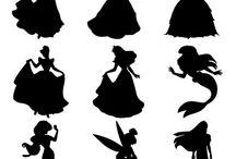 Princezny  +  Mickey Mouse    siluety