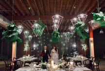 Real Wedding - Sinead+Lachlan / This gorgeous warehouse wedding was a fusion of modern charm and classic wedding elegance featuring stunning geometric lights and tropical foliage. Credits: Venue – Lightspace // Cake – Frosted Indulgence // Lighting – AVIdeas // Pendant Lights – Teneriffe Electrical // Hire – Frank & Joy // Linen – Covered // B&W Sash – Amini Concepts // Candles – Prop It Pretty // Hire – Epic Empire // Seating Chart – Divine Doorways // Florals – Bouquet Boutique // Photography – Tim Harris.