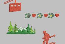 Motifs de broderies machine - montagne / Découvrez ma nouvelle série de broderies machine :  montagne, ski, vin chaud, produits de savoie...