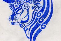 blue bull tattoo