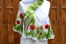 Felted by MyEspressoArt / #felted #fashion #women #handmade #wool #silk #Scarf #shawl #flowers #Boho #romantic #designer #textile #art