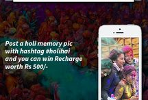 Holi Hai / Holi is just few steps away from us. How about winning some exciting recharge offers this Holi? It's time to cherish some memories. Just post a Holi photograph memory with hashtag #holihai and you can win recharge worth Rs 500/- Start posting now on facebook page! http://goo.gl/TmpwEU #holihai