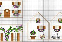 kruissteek-3D huisjes