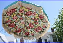 Vintage Deck Furniture and Beach Umbrella's / I just love these..now where to find one?