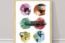 Colección Aquarella, by Mooneki / Pinceladas de acuarela inspiran esta colección de trazos gestuales y manchas de color. Ambientes creativos y personales.