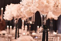 rose gold and black table decor