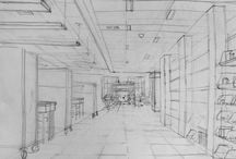 """Linear Perspective Drawings:  College level / Student drawings exploring linear perspective from """"Drawing I:  Visualizing Space"""", which in the Illustration department at the Rhode Island School of Design undergraduate degree program."""
