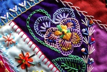 Crazy quilt flower embroidery