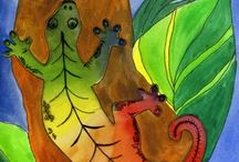 elementary art - under the sea, lizards, snakes