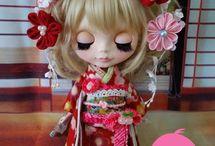 Blythes wearing Kimonos