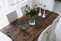 Rustic table modern chairs