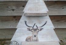 houten kerstdecoraties / houten kerstbomen