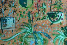 cactus y plantas. pintura natural.