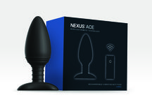 Nexus Ace / Everything you could ever want in a butt plug!  Ace is a vibrating butt plug made from silky soft silicone with stimulation ridges on the shaft for stimulation where you want it most.  It has 6 powerful and quiet functions including 3 vibration, 2 pulsation and 1 escalation. All can be controlled either using the slim line remote control by the user or a partner or by a button on the base.  Ace is recharable using a USB magnetic charger for convenience.  Comes in small, medium and large sizes