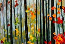 painting autumn trees